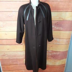 Vintage pure virgin wool winter brown long coat